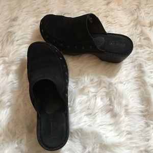 BORN Black Leather Suede Clogs Slip On Studded